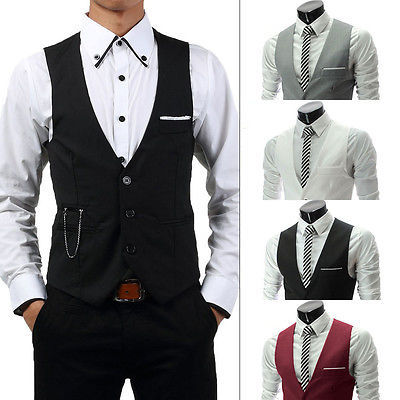 New Arrival Mens Slim Fit Vest Suit Three Buttons Men's Fitted Leisure Waistcoat Casual Business Jacket Tops