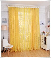 New Arrival yellow rose window screening sheer balcony/bedroom curtain yarn rustic tulle fabric