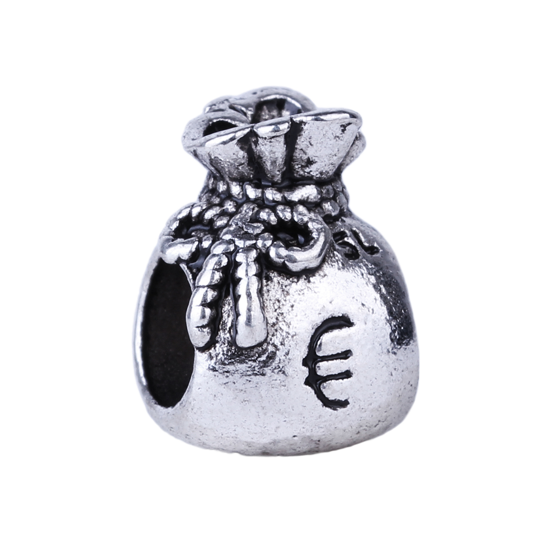 Free Shipping 1pc Silver Bead Charm European Bow Euro Sign Money Bag Fashion Bead Fit Pandora Bracelets & Necklace(China (Mainland))