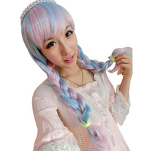 Glorious Long Wavy Full Wigs Pink Blue White Mix Cosplay Anime Party Wig(China (Mainland))