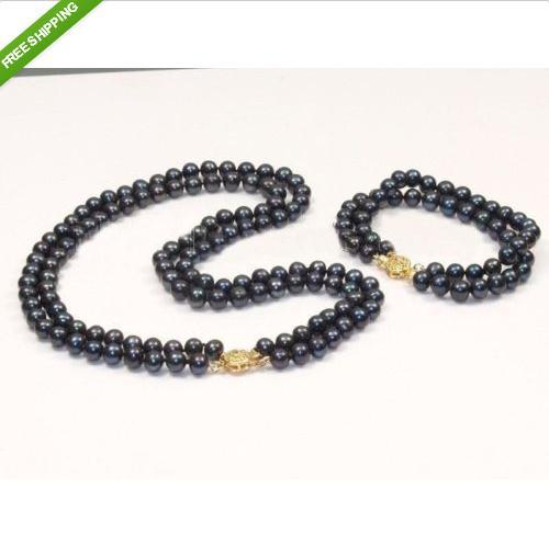 SET OF DOUBLE STRANDS 9-10MM TAHITIAN BLACK PEARL NECKLACE BRACELET - gairong hou's store