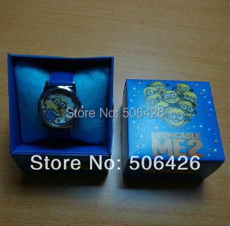 New 10pcs Despicable Me Tim the Minion Children's CARTOON WATCH W/GIFT AND BOX+Free Shipping