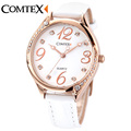 Comtex White Leather Band Stainless Still Case New Fashion Analogue Display Ladies Watch Waterproof Quartz Watch
