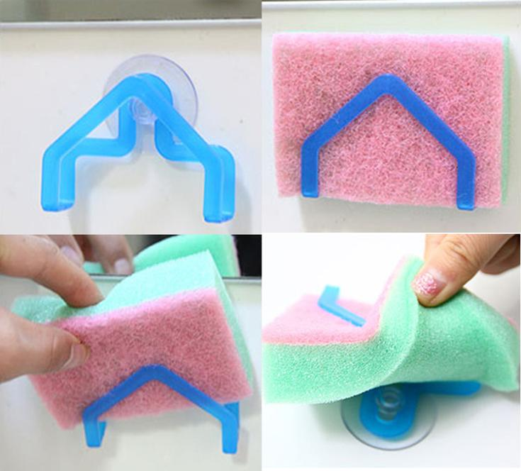 Convenient Sponge Holder Suction Cup Sink Holder Kitchen Tools Gadget Decor Drop Shipping HG-1296\br(China (Mainland))