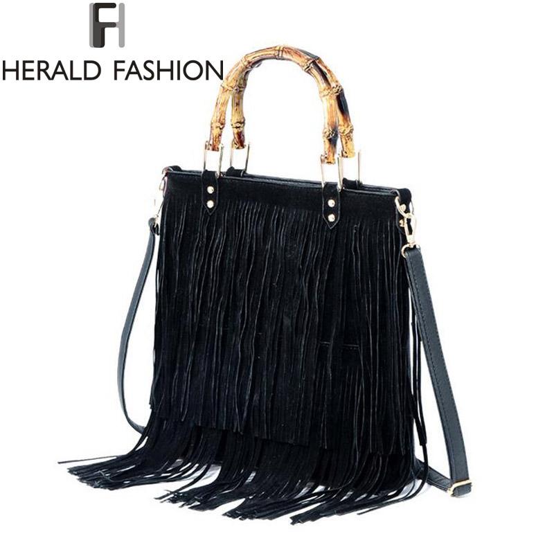 Tassel Handbag Bamboo Shoulder Bag Big Top-handle Women Bag Large Capacity Female Messenger Bags Totes Herald Fashion(China (Mainland))