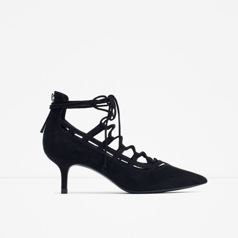 2016 SS new chic ladies sexy pointed toes med thin high heels women fashion shoes pumps back zippers lace up gladiators shoes<br>