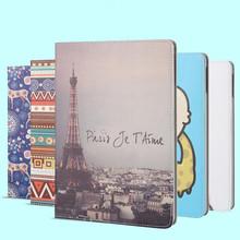 European Stylre PU Leather Protective Case For iPad Mini 3 2 1 Print Cartoon Tower Design Cover Case For Apple iPad Mini 4(China (Mainland))