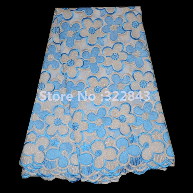 high quality big heavy swiss voile lace/African big swiss voile lace supplier white+blue(China (Mainland))