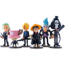 Free Shipping Anime One Piece The New World Frank Sanji Chopper Luffy Zoro Brook PVC Action Figures Toys Dolls 6pcs/set AOP138