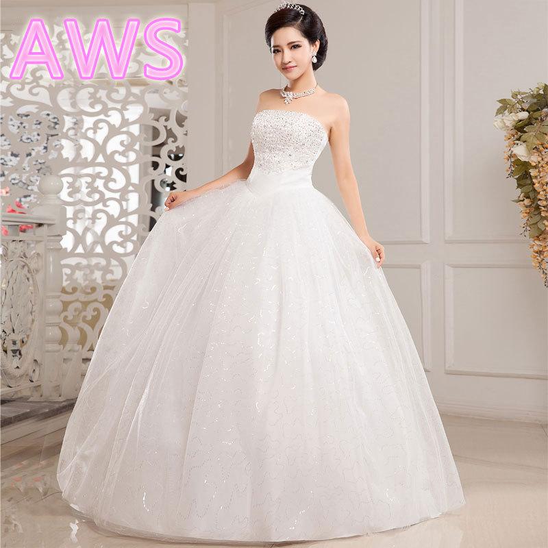 free shipping new 2015 hot fashion girl crystal princess bridal dress sexy lace up apparel the style formal wedding dresses(China (Mainland))