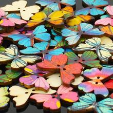 50pcs 2 Holes Mixed Butterfly Wooden Buttons Sewing Scrapbooking DIY 1QA2