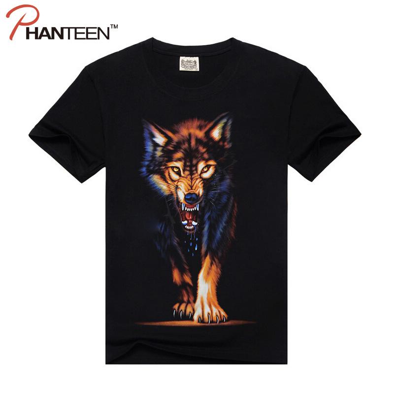 3D Wolf Print Casual Men T Shirt Summer Short Sleeve Pure Cotton Streetwear Sports Bteathable Man Fashion T-shirt(China (Mainland))