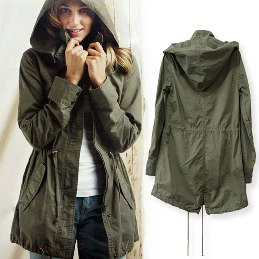 Hot Sale 2015 Spring Winter Fashion Loose Long Sleeve Army Green Women Trench Coat Casual Hoodies Trenchs Long Abrigos Mujer(China (Mainland))