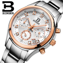 Ms BINGER original luxury brand stainless steel business fashion leisure diamond timing waterproof quartz movement women watch