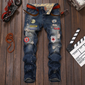 Men Jeans Brand Clothing Ripped Skinny Trousers Denim Embroidery Jeans Mens Straight Cotton Homme Badges Ink
