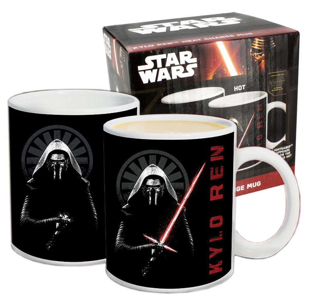 New Arrival Star Wars Episode VII Kylo Ren Heat Reveal Mug Color Change Coffee Cup Sensitive Ceramic Creative Gift Free Shipping(China (Mainland))