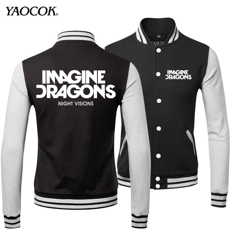 2016 Hot Sell Winter Mens Outdoor Coats And Single Breasted Tracksuit Print Magine Dragons Rock Band Baseball Bomber Jacket MenОдежда и ак�е��уары<br><br><br>Aliexpress