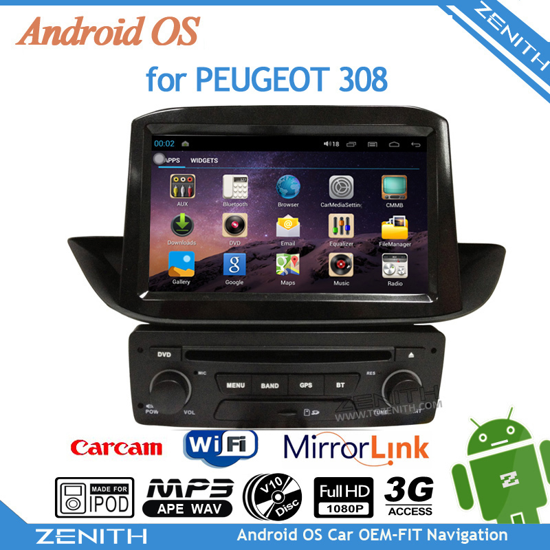 New 8 inch touch screen player car stereo android peugeot 308 GPS Cortex A9 Dual Core Rear View Camera Steering Wheel Control(Hong Kong)