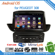New 8 inch touch screen player car stereo android peugeot 308 GPS Cortex A9 Dual Core Rear View Camera Steering Wheel Control