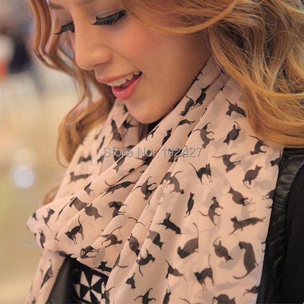 Promotional Discount 2015 New Fashion Womens Chiffon Velvet Scarves Geometric Animals Scarves Cats Shawl Stole Wholesale(China (Mainland))