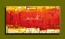 Cheap Red yellow dance lady Abstract  canvas wall art hand painted oil painting on canvas for living room wall office decoration(China (Mainland))