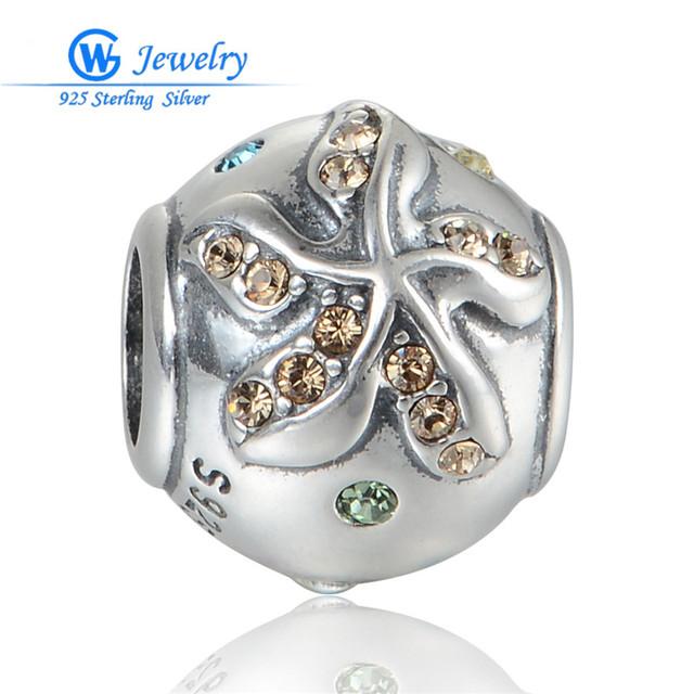 Новый Стиль Аутентичные Стерлингового Серебра 925 Cz Кристалл Морская Звезда Шарм ...