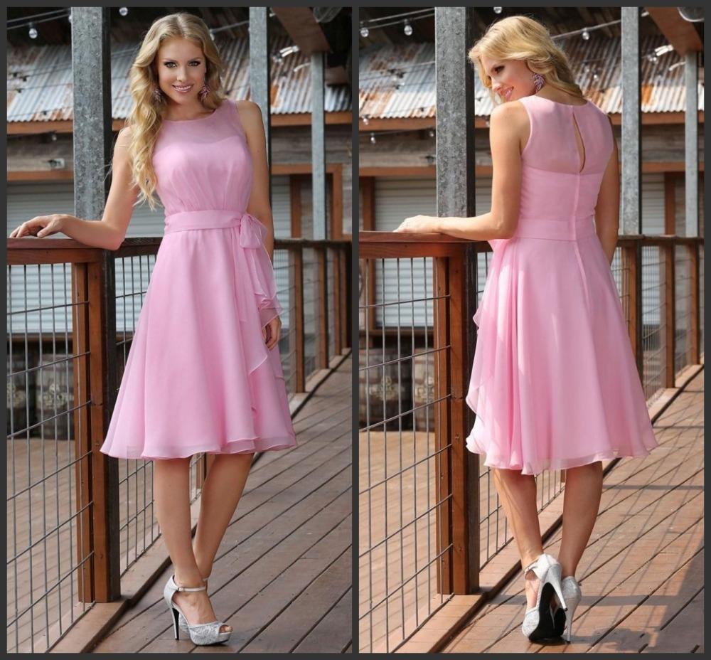 Chiffon pink 2017 ruffle bridesmaid dress sheer christmas party gowns