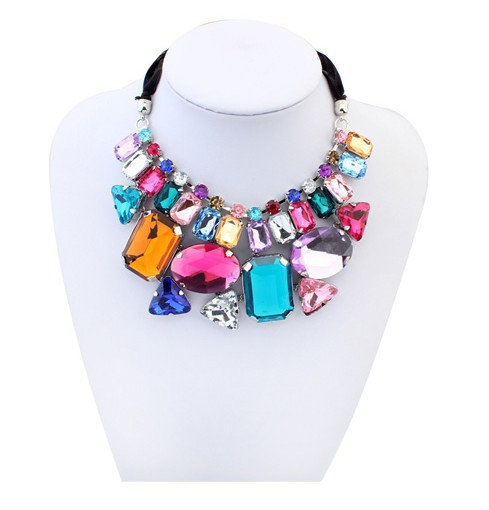 Min. order $10(Mix order) New 2014 Fashion Collars Flower Choker Gem Stone Necklace ,necklaces &amp; pendants ACO1047<br><br>Aliexpress