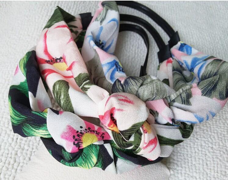2015 new chiffon floral fabric handmade elastic hairbands headband korea style hair accessories(China (Mainland))