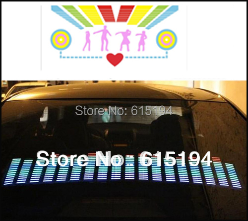 Free Shipping 50CM*30CM Car Music Rhythm Lamp Led Auto Sound Music Activated Equalizer Glow Flash Light Kit Sticker Subwoofer(China (Mainland))