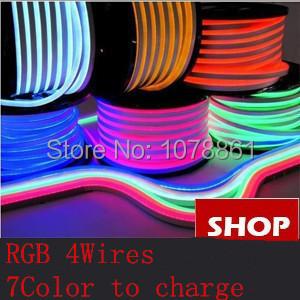RGB LED Neon Flex 12V/24V/120V/230V 80LEDs 4wires 7color to charge SMD 5050 RGB led Jacket 80LED/M F5 Epistar DIP led neon rope(China (Mainland))