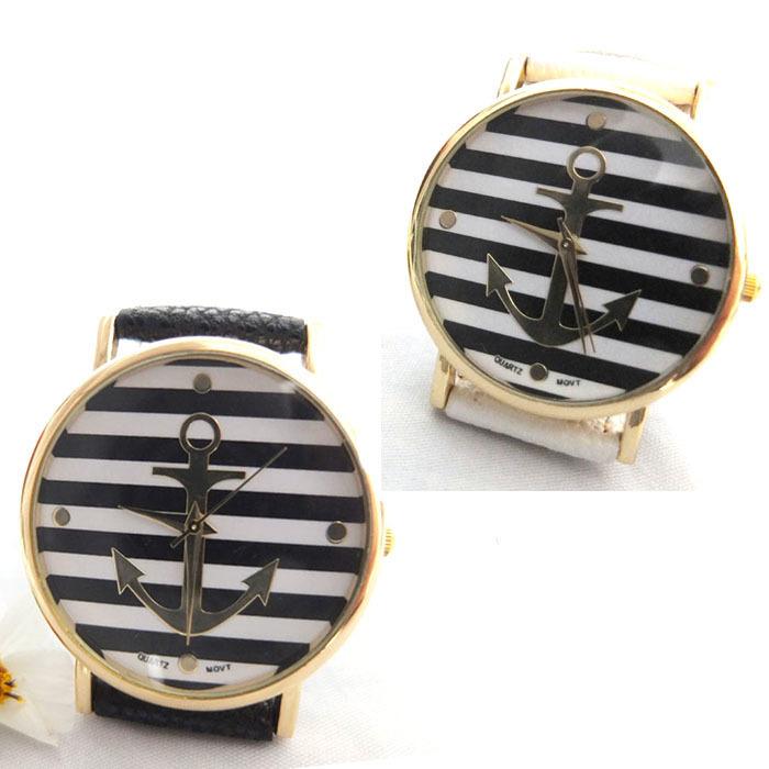 Гаджет  Fashion 2015 1PC Retro Stripes Watch Women High Quality Anchors Watches Dress Ladies Analog Quartz Watch Free shipping Tsai33 None Часы