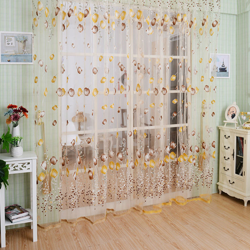 New Tulip Floral Tulle Door Window Screening Curtain Sheer Drape Panel Scarfs Valances Beads Tassel E5M1(China (Mainland))