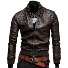 2015 New Men's imported High-grade Fashion black faux leather motorcycle Jacket Stand Collar Mens Biker Leather Coat Size S-XXL