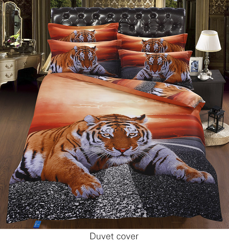 Comforter Sets King of The Road Tiger Quilt Inner 3D Comforter Sets(China (Mainland))