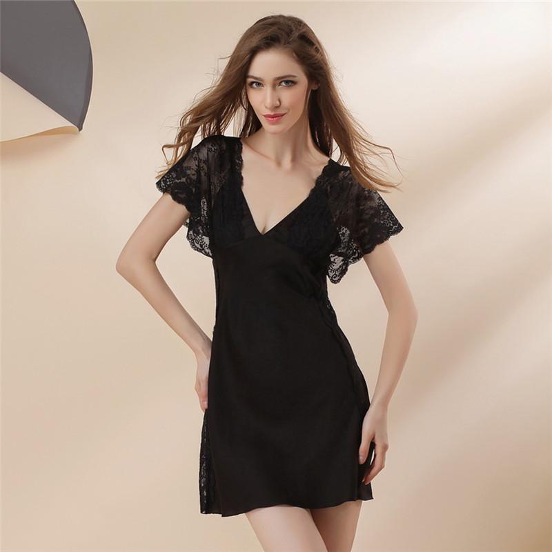 Пижамы женщин летом с коротким рукавом из искусственного шелка ночной рубашке женщин глубоким v-образным вырезом сексуальный ремень кружева шелковый гостиная сна юбка