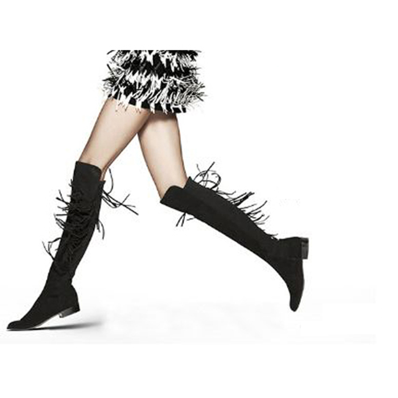 Bottes Femmes 2016 Botas De Flecos Winter Suede Thigh High Boots For Women Red Fringed Boots Black Pu Over The Knee Boots <br><br>Aliexpress