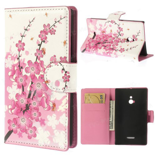 Pink Plum Design Leather Credit Card Wallet Flip Cover Case For Nokia XL Dual SIM 1042 1030 Mobile Phone Bag Cases Free Shipping(China (Mainland))