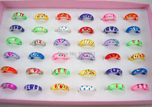 Lot's 15pcs Mixed size 1.5-5 Children Kids Small Round Ring Feeling Mood Resin Band Ring Cute Jewelry for Gift(China (Mainland))