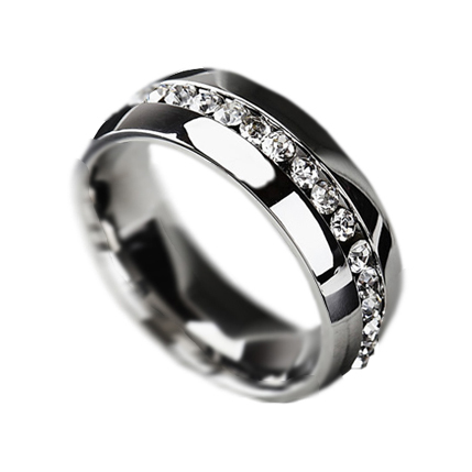 New Fashion Jewelry Classic Rings Engagement Wedding Rings Channel-Set Eternity 316L Stainless Steel rings Free Shipping B419(China (Mainland))