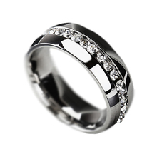 New Fashion Jewelry Classic Rings Engagement Wedding Rings Channel-Set Eternity 316L Stainless Steel rings Free Shipping B419