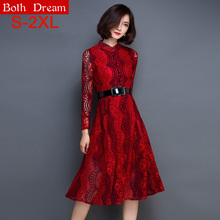 New 2016 Spring Women dress Fashion casual Long sleeve Hollow Out Lace dress Elegant Sexy High waist Women summer dress(China (Mainland))
