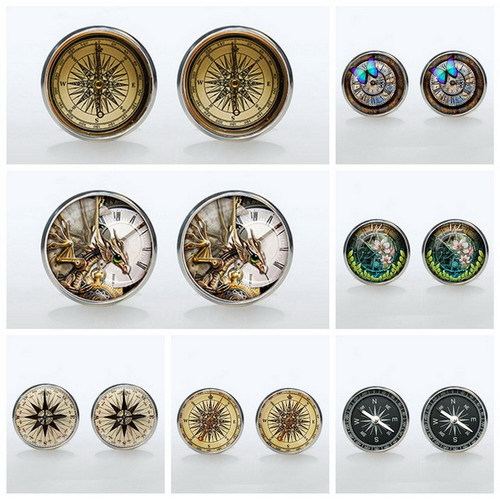 2015 New Fashion Gift Jewelry Mens Cuff Links Compass Pattern Material Links Cufflink Round White Golden Plated Cuff Link Men(China (Mainland))