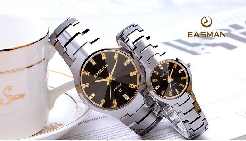 Easman часы марки любители вольфрама стали золотые часы водонепроницаемый роскошные сапфировое стекло кварцевые наручные часы часы для любителей