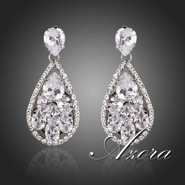 Азора росинка вниз под листом швейцарский цирконий алмаз серьги TE0138