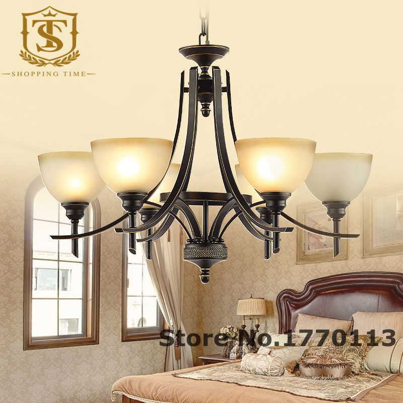 cheap american iron chandelier with frosted glass 6 arm CH034<br>