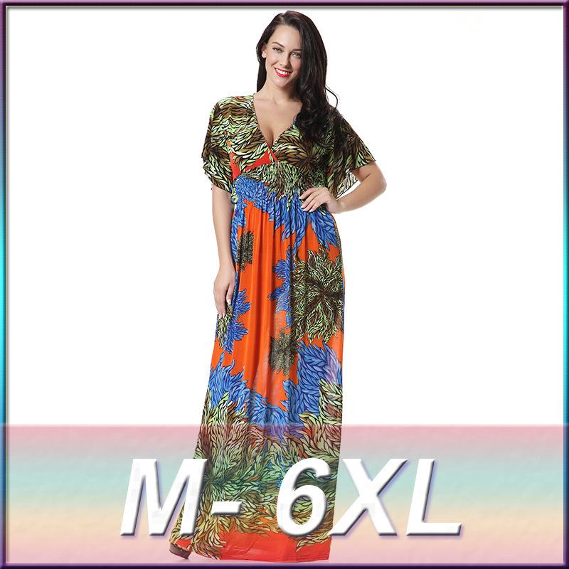 2016 Womens Summer Elegant Print Beach Dress For Vacation Bohemian Maxi Long Dresses Plus Size 6XL 7XL Vestidos 3004(China (Mainland))