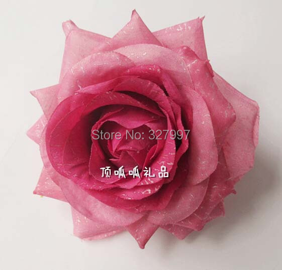 High quality silk rose flower brooches 10cm multicolor DIY wedding decoration Hawaii hat shoes bag clothes corsage pin 40pcs/lot(China (Mainland))