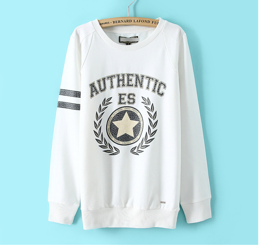 Fall 2015 fashion brand new design women Hoodies O-Neck letter icon long-sleeved Sweatshirts(China (Mainland))