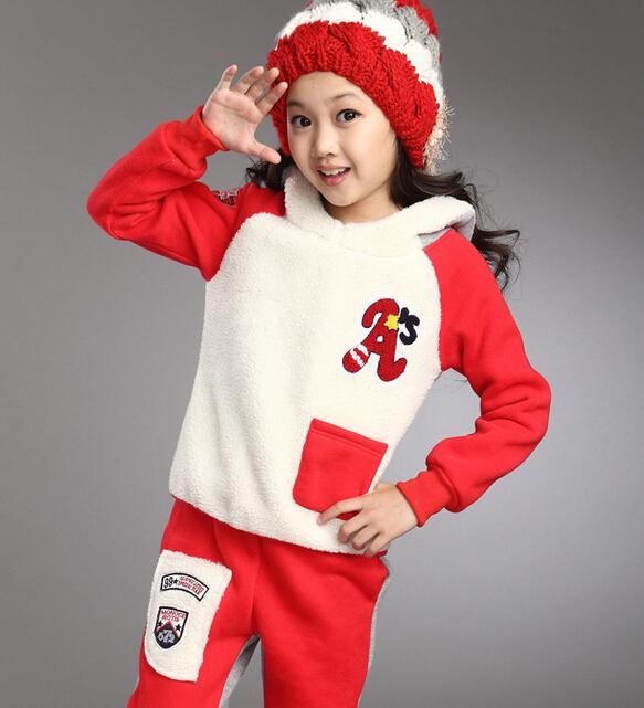 2014 Warm Christmas Children Autumn Clothing Sets Girls Casual Jacket & Coat & Pants 2pcs Girls Sport Suit Kids Girl Clothes